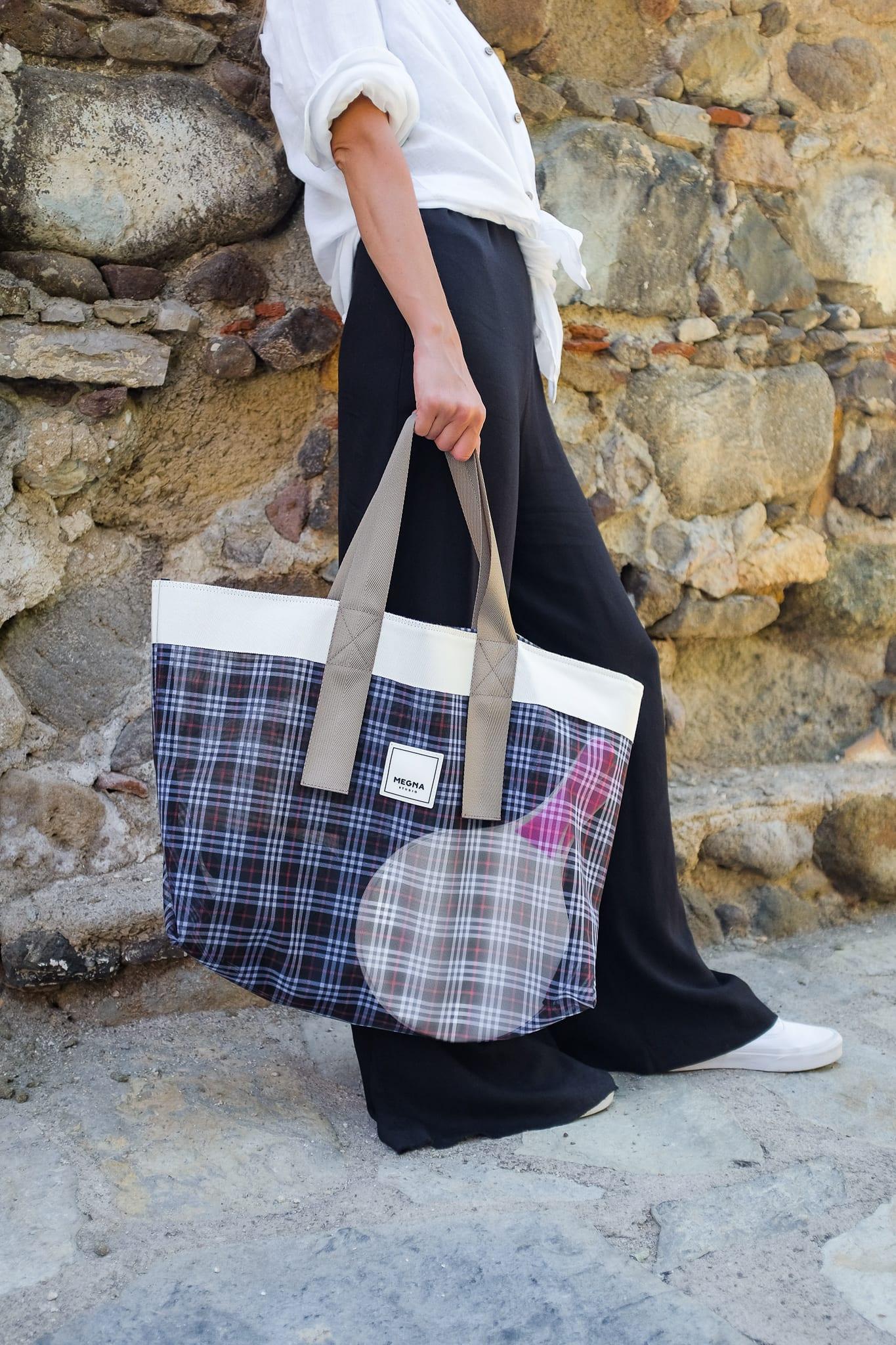 Grace Beach Bag Plaid Horizontal Silver 4
